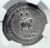 Roman Republic 85BC Ancient Silver Coin VEJOVIS & GENIUS / CUPID GOAT NGC i78052