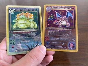 Rare! 1999 Pokémon 1st Edition Charizard & Venusaur Set Of Holo Promo Cards Mint