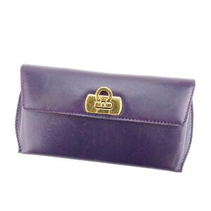 Salvatore Ferragamo glasses case Ganchini Purple Gold Woman Authentic Used Y6478