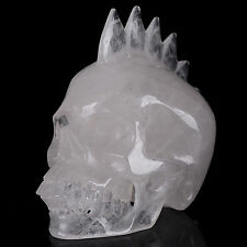 """4.41""""Natural Clear Quartz Carved Crystal Realistic Mohawk Skull Carving #18W18"""
