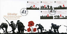 Gibraltar 2016 FDC Battle of Somme 100th Anniv 5v Set Cover WWI WW1 Stamps