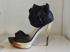 UK 7.5 Fab Black Stileto Wide Ankle Strap High Heel Evening Shoes 40 Satin Roses