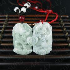Certified Natural  Jadeite Emerald Gemstone Dragon Phoenix Couple Pendant  C3
