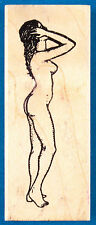 Naked Woman Rubber Stamp by Rubber Baby Buggy Bumpers - Standing Nude Side View