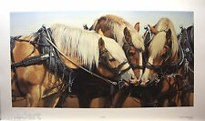 "Adeline HALVORSON Belgian Horses LTD art print mint COA certificate ""All For One"