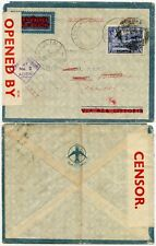 ADEN 1941 CENSORED to AUSTRALIA NIMMITABEL REDIRECTED BALLINA + LISMORE AIRMAIL