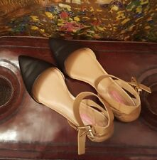 Isaac Mizrahi Ankle Strap Sandals, Leather, Black and Natural,  8M