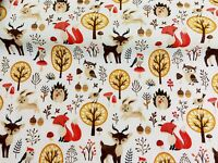 NEW! PolyCotton Fabric Kids Woodland Fox Reindeer Animals Owls Reduced Prices