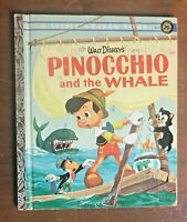 "Vintage Little Golden book Walt Disney's PINOCCHIO and the WHALE ""A"" 1st Edition"