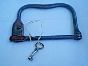 Rare antique handmade padlock with key