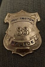 ANTIQUE OBSOLETE HUNTINGTON POLICE OFFICER BADGE APPLIED NUMBERS 33