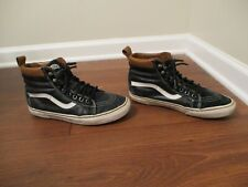 Used Worn Size 9.5 Vans Sk8 Hi Leather MTE Shoes Black White Brown