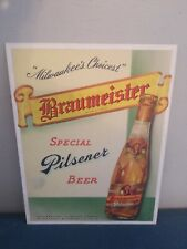 1939 Braumeister Beer bottle prototype cardboard sign rare independent wis