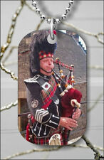 BAGPIPER FROM SCOTLAND DOG TAG NECKLACE PENDANT FREE CHAIN -mku7Z