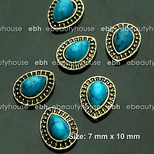 5PCS 3D Vintage Turquoise Copper Nail Art Alloy Accessories Decorations #EH-238