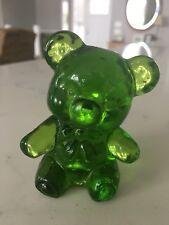 """Vtg GREEN GLASS Teddy BEAR FIGURINE Sitting 2.5"""" tall"""