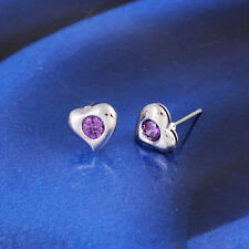 HEART SHAPED 9ct WHITE GOLD FILLED STUD EARRINGS PURPLE CZ WOMENS GIRLS BE676