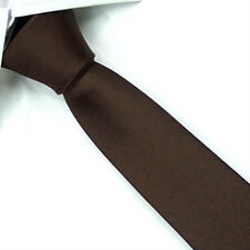 D.berite Coffee 100% Silk Man Wedding Groom Solid Skinny Slim Tie Necktie SK12