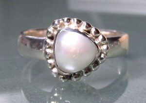 Sterling 925 silver pretty Freshwater Pearl ring UK P/US 7.5-7.75. Gift Bag.