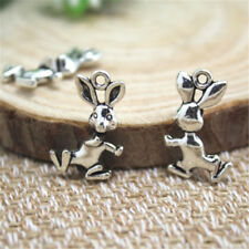 20pcs Rabbit charms Silver tone Vintage 3D Rabbits Bunny Charms Pendants 19x12mm