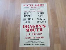 DRAGONS Mouth Michael DENISON Dulcie GRAY Original Winter GARDEN Theatre Poster
