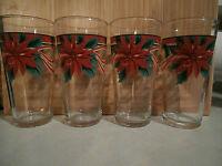 Set of Four Holiday Themed Mistletoe Tumblers Glasses Christmas Wreath Ribbon