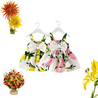 Baby Girls Clothes Lemon Printed Infant Outfit Sleeveless Princess Gallus Dress