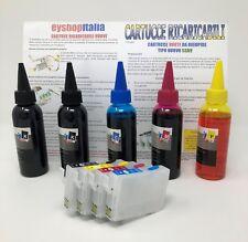 CARTUCCE ORIGINALI INK PER EPSON 711-714 + 500ML INCHIOSTRO SX110 SX115 SX200