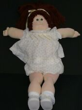 Cabbage Patch Kid Little People Soft Sculpture Girl Braid Brunette Green Eyes