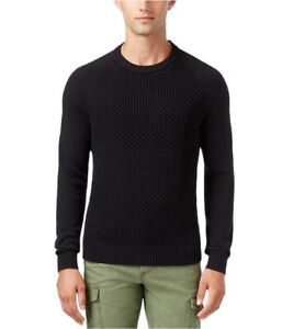 Tommy Hilfiger Mens Textured Pique Knit Sweater, Black, X-Large