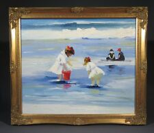 "Oil Painting on Canvas, ""Children Playing at the Beach"", Little Girls"