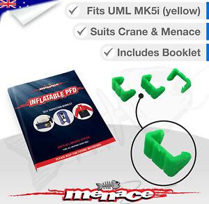 Menace Aldi Crane Inflatable Life Jacket Green Service Clip & Self Instructions