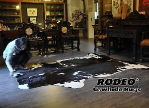 Best Sell Item Gorgeous TRICOLOR DARK CHOCOLATE COWHIDE RUG approx 6x6-5X7ft
