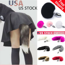 0991ef8f8e2 Adult Sexy Fluffy Fox Rabbit Tail Plug Cosplay Metal Stopper Butt Adult Toy  Game