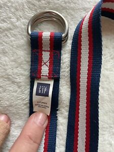 "Baby Gap Kids D Ring Belt Webbed Cotton Red White Blue Stripe 2 - 5 Yrs 27"" Long"