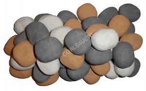 NEW FOR WINTER GAS FIRE STONES CHOICE OF four COLORS Replacement Ceramic Pebbles