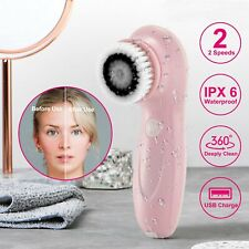 Rechargable Electric Face Facial Cleansing Brush Set Body Exfoliating 2 Speed
