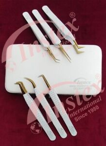 Eyelash Extension Tweezers Set of 6 Pieces in stainless steel With Magnetic Case