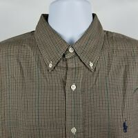 Ralph Lauren 100% Cotton Mens Red Brown Blue Mini Check Dress Button Shirt Sz XL