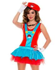 Sexy Women Adult Luigi Mario Bros Cosplay Costume Mini Dress Halloween Party HOT