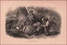 FARM FAMILY RESTING AT NOON, CUTTING WHEAT by F O C Darley, antique 1872