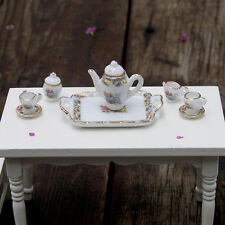 8 PCS Dollhouse Miniature Tea Set Ceramic Porcelain Dish/Cup/Plate Golden Flower