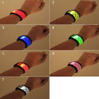 LED Slap Bracelet Glowing Light Wrist Band Arms Party Night Run Gift Kid/Child
