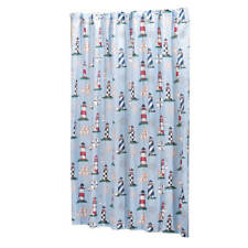 Nautical Lighthouse Fabric Bath Shower Curtain Anchor Ship Compass Blue Red