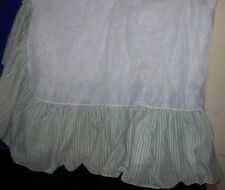 Green and White Striped Twin Size Bed Ruffle - Bed Skirt