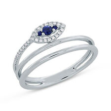 0.18Ct 14K White Gold Blue Sapphire And Diamond Leaf Wrap Right Hand Ring