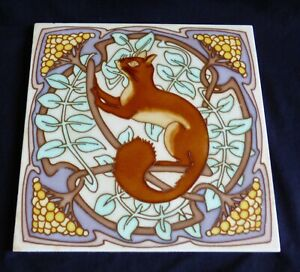 RARE Gilardoni & freres SQUIRREL Art Nouveau Tile Carreau 1900 Jugendstil Fliese