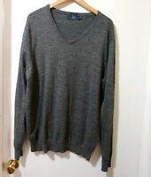 J Crew Mens 100% Cotton V Neck Long Sleeve Gray Speckled Sweater Sz XL Pullover