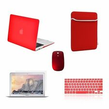 "5 IN 1 Macbook Air 13"" Rubberized Red Case + Keyboard Skin + LCD + Bag + Mouse"