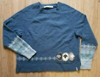Vintage Woolrich Womens Size XL 100% Lambs Wool Blue Sheep Pull Over Sweater